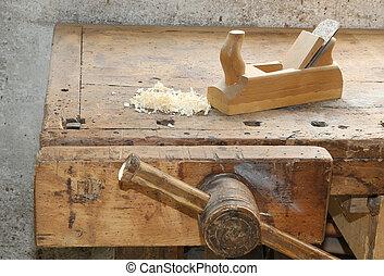 de madera, banco de trabajo, cepilladora, vicio