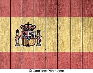 de madera, bandera, de, españa