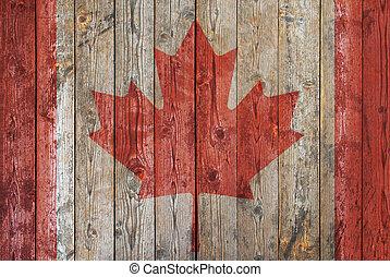 de madera, bandera, plano de fondo, canadiense