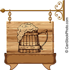 de madera, bar, señal