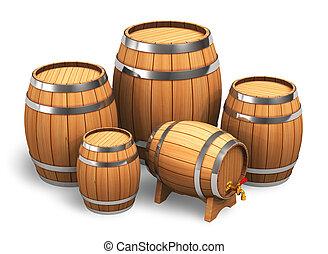 de madera, barriles, Conjunto