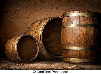 de madera, barriles, tres