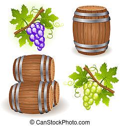 de madera, barriles, y, uva