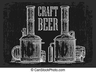 de madera, beer., tanques, barril, cervecería, fila