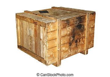 de madera, blanco, cajón, aislado, plano de fondo
