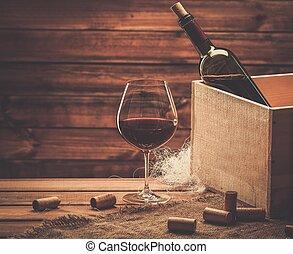 de madera, botella de vidrio, tabla, vino rojo