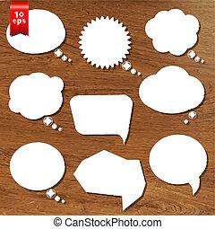 de madera, burbujas, conjunto, discurso, plano de fondo