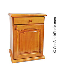 de madera, cabecera, nightstand, aislado
