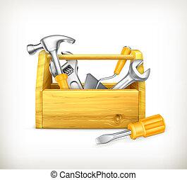 de madera, caja de herramientas