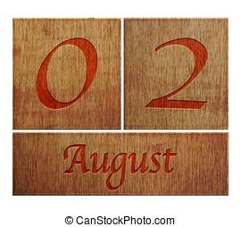 de madera, calendario, 2., agosto