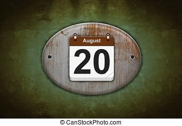 de madera, calendario, viejo, agosto, 20.