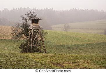 de madera, campo, casa de campo de la caza