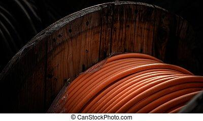 de madera, carrete, alambres, eléctrico