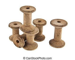 de madera, carrete, viejo, hilos