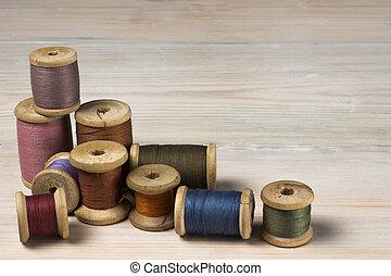 de madera, carretes, viejo, plano de fondo, hilo