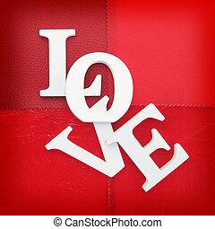 de madera, cartas, formación, palabra, amor, escrito, en, cuero, plano de fondo
