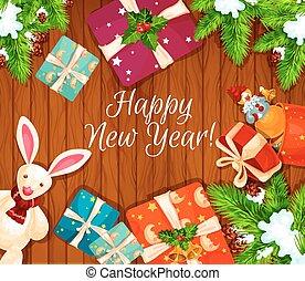 de madera, cartel, feriado, regalos, plano de fondo