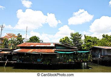 de madera, casas, canales, por, tailandia