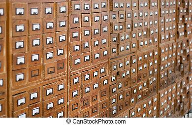 de madera, catálogo, viejo, tarjeta
