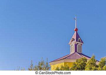 de madera, católico, iglesia, chiloe, isla, chile