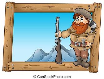 de madera, cazador, marco, caricatura