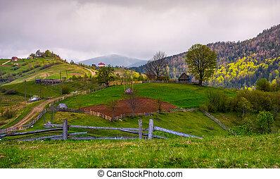 de madera, cercas, de, área rural, en, herboso, laderas