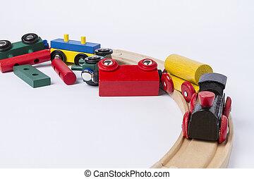 de madera, chocado, tren, juguete