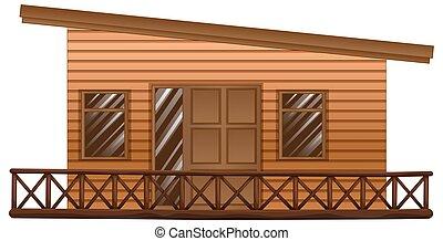 de madera, choza, terraza