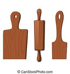 de madera, cocina, herramientas, cocina, alimento