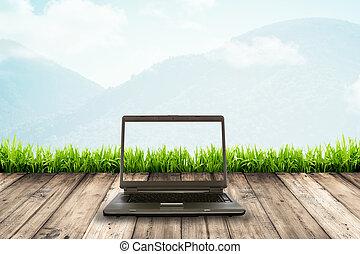 de madera, computador portatil, computadora, piso