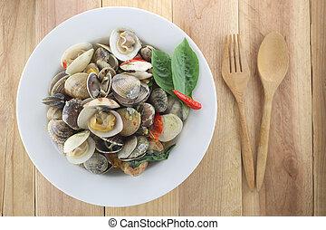 de madera, concha marina, fondo., plato, soplo, blanco, ...