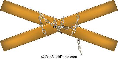 de madera, conectado, cadena, travesaño