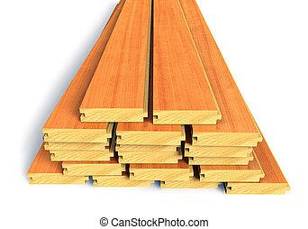 de madera, construcción, apilado, tablones