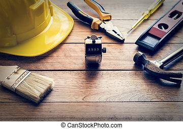 de madera, construcción, herramientas, tablón