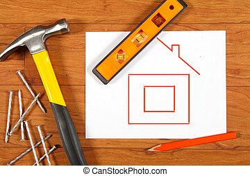 de madera, construcción, herramientas, piso