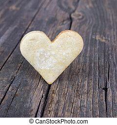 de madera, corazón, galletas, fondo.