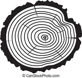 de madera, corte, árbol, registro, vector