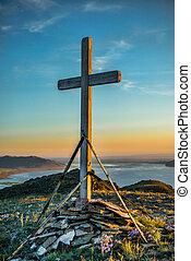 de madera, cristiano, cruz, colina