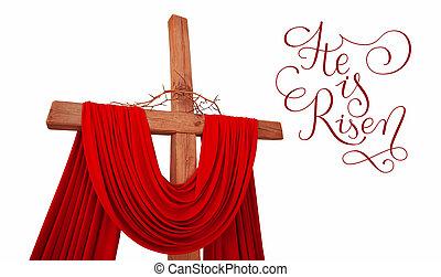 de madera, cristiano, cruz, con, corona de espinas, y, cartas, él, es, levantado