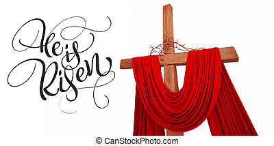 de madera, cristiano, cruz, con, corona de espinas, y, texto, él, es, risen., caligrafía, letras