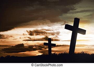 de madera, cristiano, cruz
