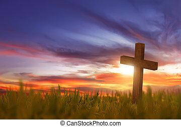 de madera, cruz, en, hierba verde, con, ocaso