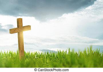 de madera, cruz, en, hierba verde