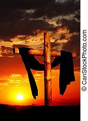 de madera, cruz, en, ocaso
