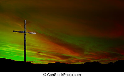 de madera, cruz, en, salida del sol