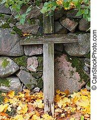 de madera, cruz, en, un, cementerio