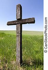 de madera, cruz, primer plano