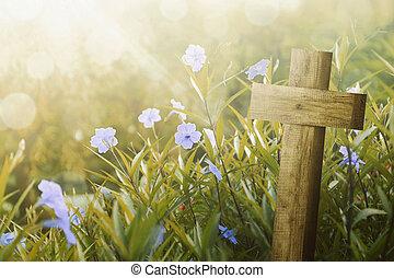 de madera, cruz, y, flor púrpura, con, luz del sol