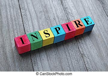 de madera, cubos, palabra, inspirar, colorido