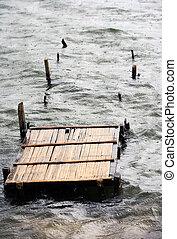 de madera, destruido, puente